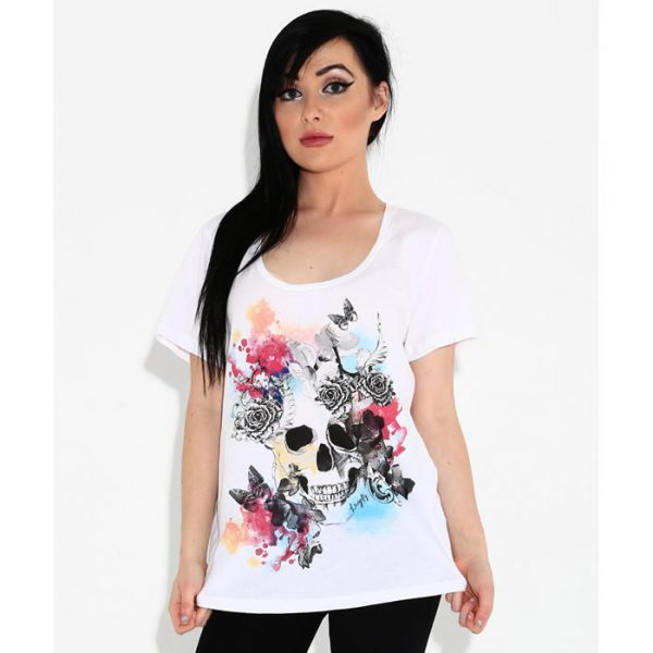 Skull With Butterfly Dolman Tee Shirt