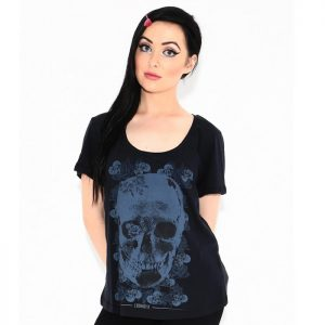 Skull With Flowers Dolman Tee 100% Cotton