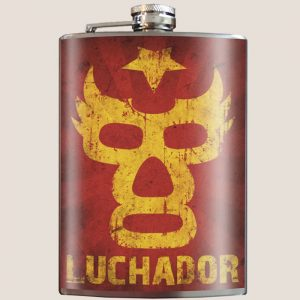 Luchador whiskey flask