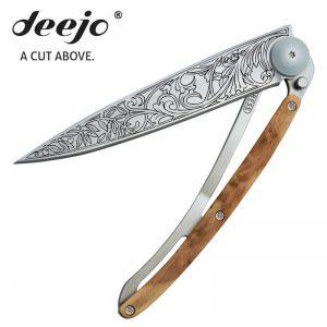 Deejo pocket knife TATTOO ART NOUVEAU, Liner Lock, juniper wood handle