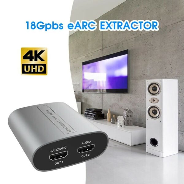 HDMI Audio Extractor ARC Adapter Splitter For HDTV Soundbar 2K 4K 60Hz 18Gbps